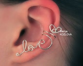 Left Ear Cartilage Cuff Tender LOVE  - wire writing, silver plated