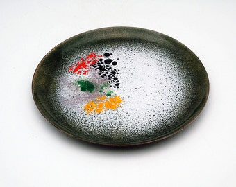 Vintage German copper enamel dish from 1960s