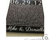Wedding Vows, word art, Wedding Ceremony on canvas, 20x30 Personalized canvas with words