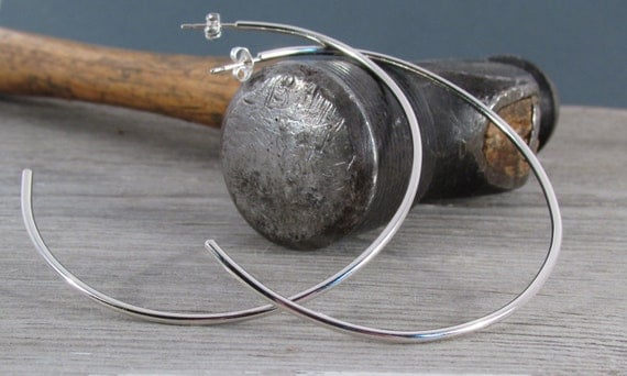 Large Modern Sterling Silver Hoop Post Earrings - Fun Modern Hoops - Hoops with Post - Extra Large Hoops