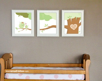 """Small Bites Art: """"Olive You""""- 8x10"""" Set of 3 Prints- Nursery Art- Made for Foodies"""