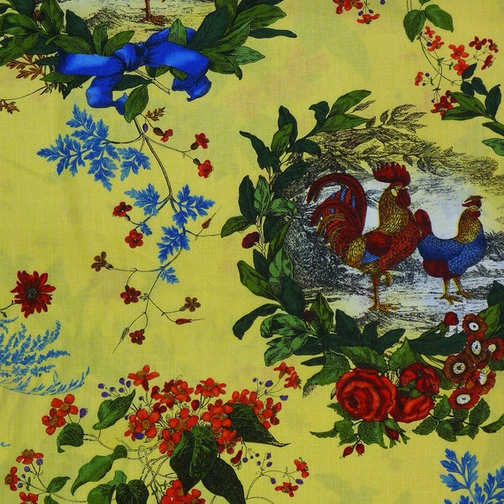 French Country Yellow Toile Roosters By Fabri Quilt 112 10531