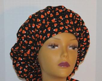 Bouffant Scrub Hat with ties - Halloween Theme Scrub Hat - Candy Corn Dot Bouffant scrub hat - Ponytail Scrub hat - Custom Scrub Hat