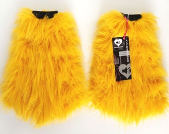 Yellow fluffies - MADE TO ORDER / yellow glitter fluffies / gold furry legwarmers / yellow leggings / rave fluffies / ravewear / cosplay