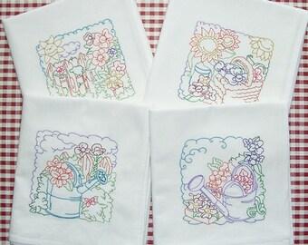 Embroidered Garden Kitchen Towels