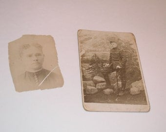 Antique Pictures, Vintage Photos, 1900's, Black and White Photography, Husband and Wife, Set of 2 Black and White Vintage Photos