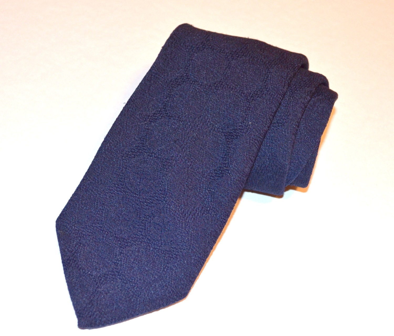 solid blue tie wembley tie navy blue necktie blue vintage
