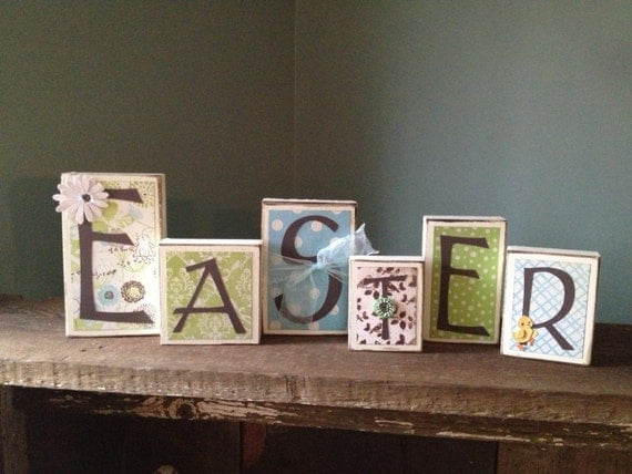 Easter wooden block letters