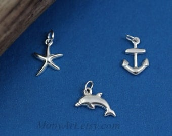 ADD a CHARM . Sterling Silver Anchor, Dolphin Charms . Add charm to Necklace or Bracelet, Silver plated Starfish,
