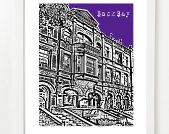 Back Bay, Boston Poster - Back Bay City Skyline Series Art Print - Back Bay Massachusetts