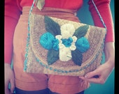 Vintage Blue and White Floral Straw and Raffia Purse or Clutch