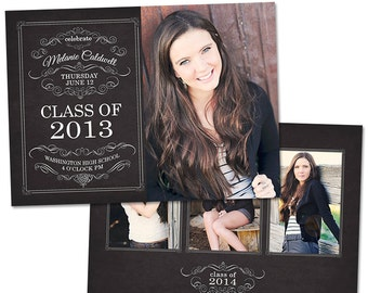 Senior Graduation Announcement Card Template for Photographers Photoshop Templates for Photographers Photo Card Template - GD110