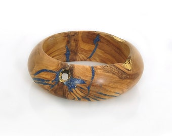 Wood Bracelet of Olivewood with Blue Lapis and Gold Inlay. Golden Blue