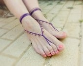 Purple wedding barefoot sandals  Amethyst Summer beach Footwear  nude shoes sandles, leg accessories,  pool