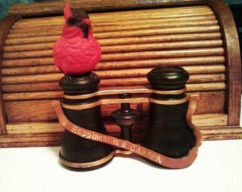 SALE Cardinal on Binoculars Figurine