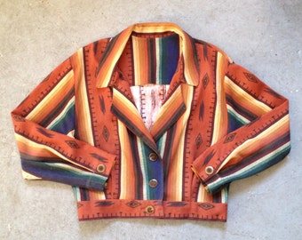 vintage 90s southwestern jacket in orange & blue. retro outerwear.