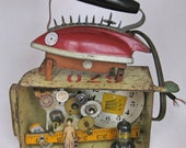SALE! Anti Housework Themed Mixed Media Assemblage, Toy Iron, Clock Works, Spikes