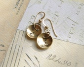 Personalized Hand Stamped Initial Earrings Antique Brass