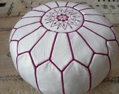 Couple of 2 LEATHER POUFS ( also called ottomans footstool  floor pillow)  WF