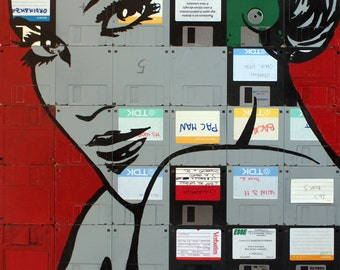 Alba original painting on recycled floppy disk 66x54 cm