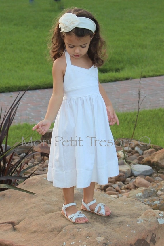 Items similar to white linen halter dress sizes 6 months for Flower girl dress for beach wedding