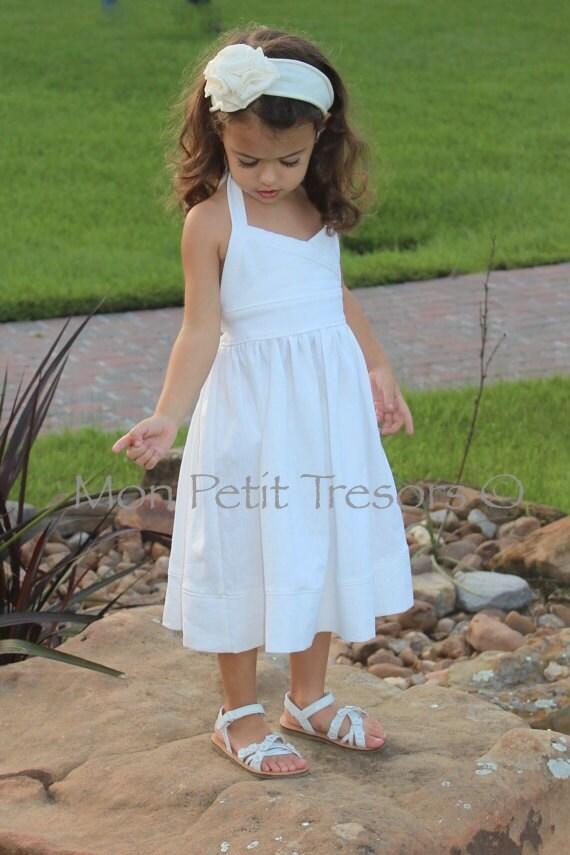 White Linen Halter Dress Sizes 6 months to 3 years-Beach