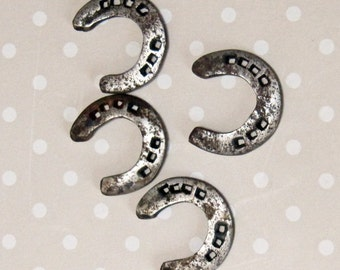 Vintage Set of 4 Silver Tone Metal Small Lucky Horseshoe Charms - Kath