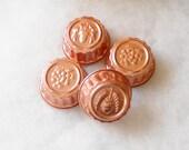 Vintage Copper Gelatine/Cake Molds, Set of 4