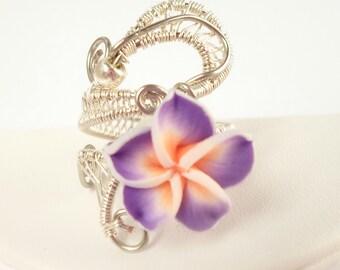 Adjustable woven silver flower ring plumeria
