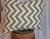1 17x15 Chevron Pillow: Grey chevron accent square pillow