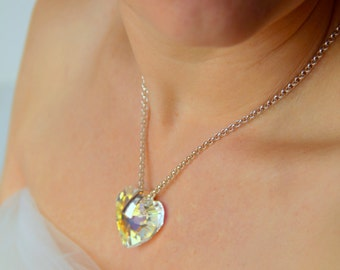 Swarovski Crystal Heart and Sterling Silver Necklace