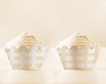 Printable Cupcake Wrappers in IVORY DIY Set of 5 with vintage background wedding cupcakes INSTANT Download