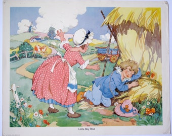 Vintage 1950's Nursery Rhyme Print, Little Boy Blue