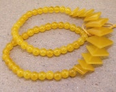 """Full Strand  Diamond  Yellow Jade Beads ----- 6mm-20mm ----- about 60Pieces ----- gemstone beads--- 15"""" in length"""