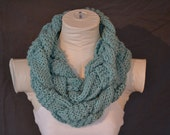Mint Turquoise Knitted & Woven Infinity Scarf