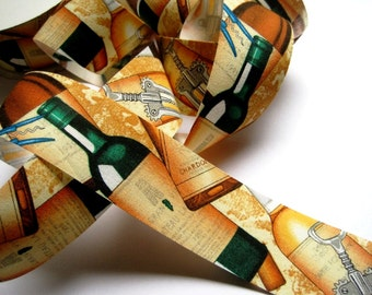 """Wine Bottles Cotton Ribbon Trim, Multi Color, 1 3/8"""" inch wide, 1 yard, For Gifts, Scrapbook, Decor, Accessories, Mixed Media"""