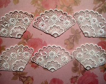 Venice Lace Fan Appliques, Ivory, x 6, Embellishment For Scrapbooks, Cards, Mixed Media, Accessories, Decor, Romantic & Victorian Crafts