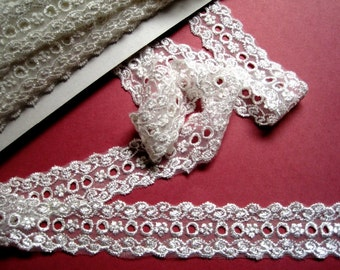 """Victorian Embroidered Lace Beading, Ivory, 1 1/4"""", 1 Yard, For  Bridal, Dolls, Apparel, Gifts, Accessories, Scrapbook, Decor, Mixed Media"""