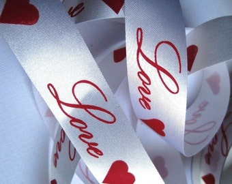 """Satin Love Ribbon Trim, Red / White, 7/8"""" inch wide, 1 yard, For Scrapbook, Decor, Accessories, Mixed Media"""