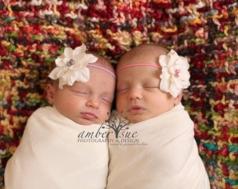 Rose and Lilac Ivory Silk Twin Set Baby Flower Headband, Newborn Headband, Baby Girl Flower Headband, Photography Prop