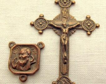 Bronze Padre Pio & Crucifix Rosary Set