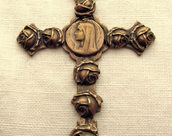 Bronze Blessed Virgin Mary Cross with Flowers