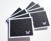 Set of 8 White and Black Embossed with Purple Butterfly Mini Cards with No Envelopes