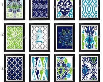 Turquoise Navy Chartruese Grey  Damask Art Print  - Set of Any (3) 11 x 14 Unframed Art Print, Custom Colors Sizes Available