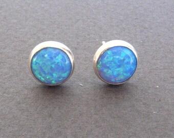 Opal stud earrings ,opal post  earrings silver sterling 8mm.Blue opal post earrings