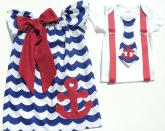 Custom Boutique Nautical Wave Brother/ Sister set Sizes 0-6 mo, 6-12mo, 12-18mo, 18-24mo, 2t, 3t, 4t, 5/6, 7/8