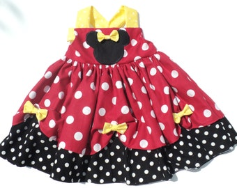 Custom Boutique  Classic Minnie Mouse Inspired Dress  Sizes 0-6mo, 6-12mo, 12-18mo, 18-24mo, 2t, 3t, 4t, 5/6, 7/8