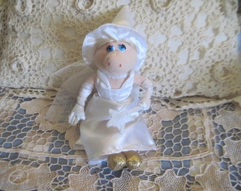 Miss Piggy plush doll 8 inches  H Fairy Princess all in white Muppets  :)