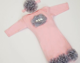 Infant Layette Baby Gown with Light Grey Chiffon Flowers and Rhinestones