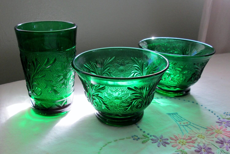 Vintage Green Sandwich Glass Emerald Green Juice Glass Custard